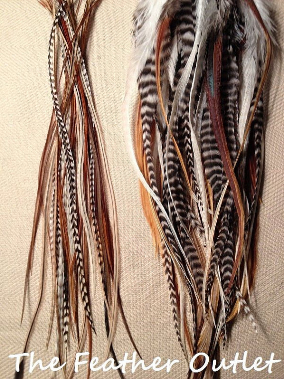 Lot 50 Feathers Hair Extensions Grizzly Long Hair Feathers Saddle