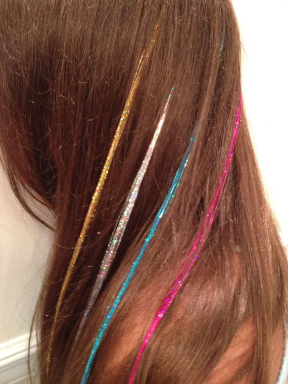 Lot 4 Glitter Hair Extensions Highlights Shimmer Tinsel Feather